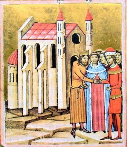 800px-Chronicon Pictum P105 Kálmán és Álmos kibékülése Dömösön